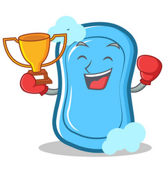Boxing winner blue soap character cartoon vector
