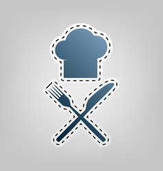 Chef with knife and fork sign blue icon vector