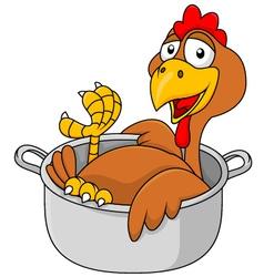 Chicken in the saucepan vector