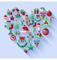 Christmas icons heart vector image vector image
