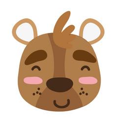 Colorful glad bear head wild animal vector
