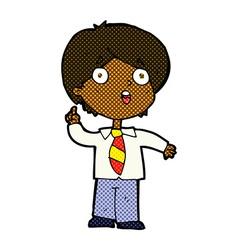 comic cartoon schoolboy answering question vector image vector image