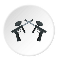 Crossed paintball guns icon circle vector