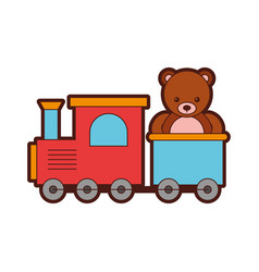 Cute bear teddy with train vector