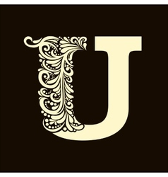 Elegant capital letter u in the style baroque vector