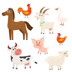 Farm animals - cow sheep horse pig goat vector