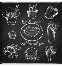 Fast food icon chalkboard vector