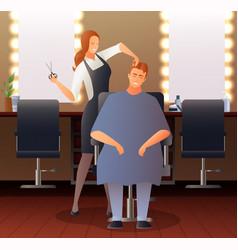 female hairdresser flat composition vector image