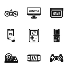 Game console icons set simple style vector