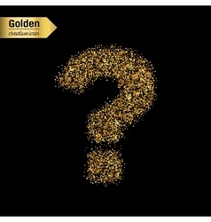 Gold glitter icon of question mark isolated vector image vector image