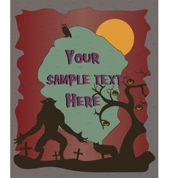 Halloween poster with werewolf silhouettes vector
