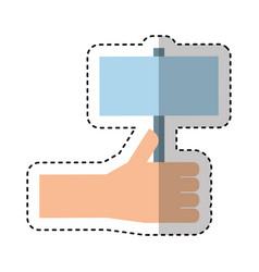 Hand human with label silhouette icon vector
