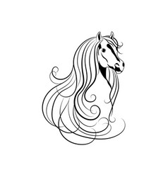 horse head in black and vector image