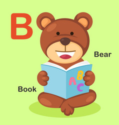 isolated animal alphabet letter b-bear book vector image vector image