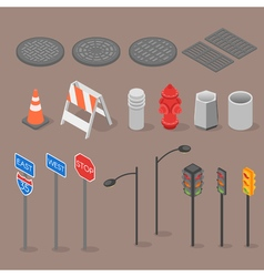 Isometric set icon of city objects vector image vector image
