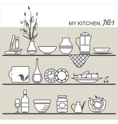 Kitchen utensils on shelves 1 vector image vector image