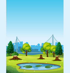 park scene with pond and chopped trees vector image