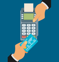 pay merchant hands credit card flat vector image vector image