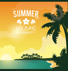Poster sunset seaside with logo summer holydays vector