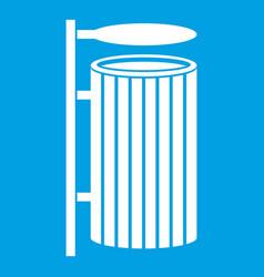 Public trash can icon white vector