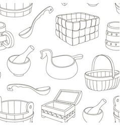 Rustic wooden utensils pattern vector