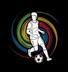 Soccer player running with soccer ball action vector