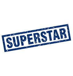 square grunge blue superstar stamp vector image vector image
