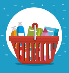 supermarket shopping basket cartoon vector image