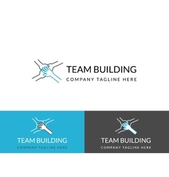 Team building business logo design in three colors vector