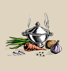 Tureen and for cooking vegetables vector