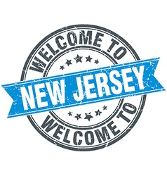 welcome to New Jersey blue round vintage stamp vector image vector image