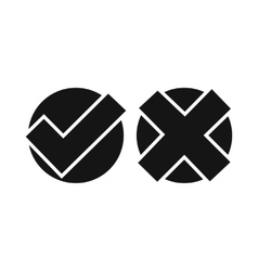Yes no check marks icon simple style vector