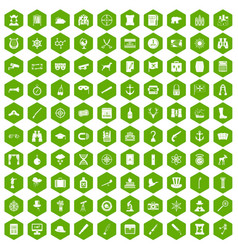 100 binoculars icons hexagon green vector