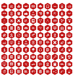 100 education technology icons hexagon red vector