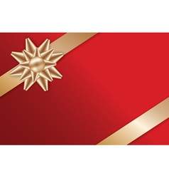 Festive golden bow on red background vector