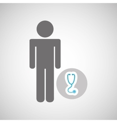 Silhouette man with stethoscope health graphic vector