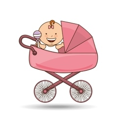 Cute newborn pink pram design vector