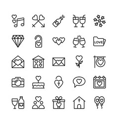 Love and valentine line icons 2 vector