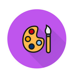 Paint brush with palette icon on round background vector