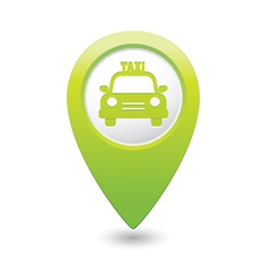 taxi icon green map pointer vector image