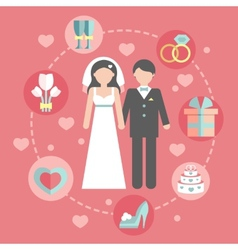 Wedding infographic set with cartoon bride and vector
