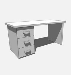 3d image - grayscale desk with three drawers vector