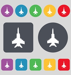 Fighter icon sign a set of 12 colored buttons flat vector