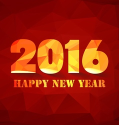 Happy new year 2016 polygonal red mosaic vector