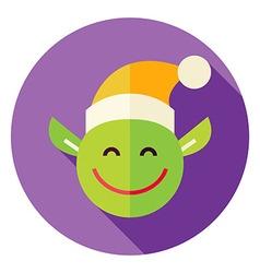 Flat design christmas elf circle icon vector
