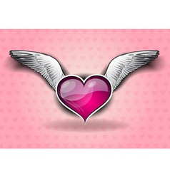 Heart with the wings on the background vector