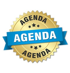 Agenda 3d gold badge with blue ribbon vector