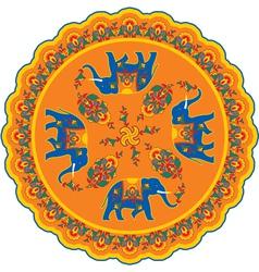 Indian elephant pattern rosette vector