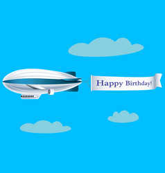 airship with banner with text happy birthday vector image vector image