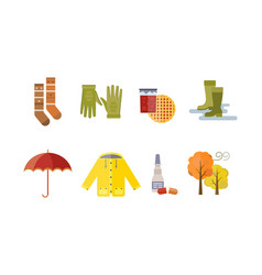 autumn clothes set items the fall tree rain clouds vector image vector image